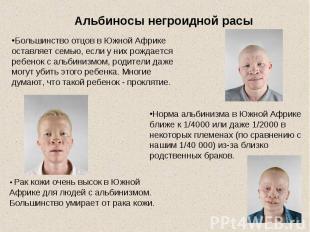 Альбиносы негроидной расыБольшинство отцов в Южной Африке оставляет семью, если