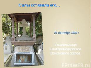 Силы оставили его…25 сентября 1918 г Усыпальнице Екатеринодарского Войскового со