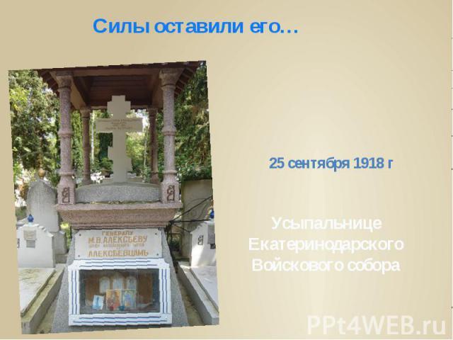 Силы оставили его…25 сентября 1918 г Усыпальнице Екатеринодарского Войскового собора