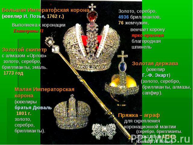 Большая Императорская корона (ювелир И. Позье, 1762 г.)Выполнена к коронации Екатерины II Золотой скипетр с алмазом «Орлов» золото, серебро, бриллианты, эмаль. 1773 годМалая Императорская корона (ювелиры братья Дюваль 1801 г.золото, серебро,бриллиан…