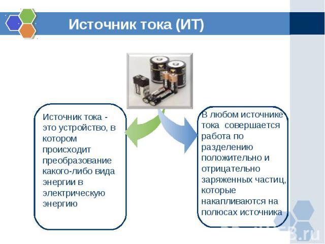Источник тока (ИТ)Источник тока - это устройство, в котором происходит преобразование какого-либо вида энергии в электрическую энергиюВ любом источнике тока совершается работа по разделению положительно и отрицательно заряженных частиц, которые нак…