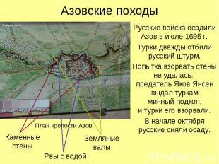 Азовские походыРусские войска осадили Азов в июле 1695 г.Турки дважды отбили рус