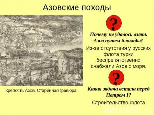 Азовские походыПочему не удалось взять Азов путем блокады?Из-за отсутствия у рус