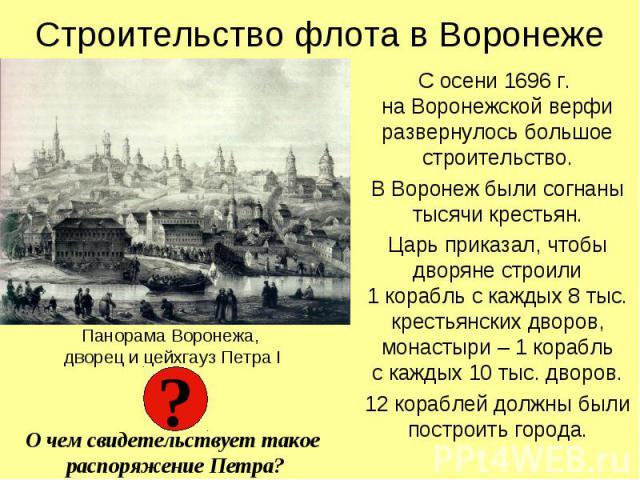 Строительство флота в ВоронежеС осени 1696 г. на Воронежской верфи развернулось большое строительство.В Воронеж были согнаны тысячи крестьян.Царь приказал, чтобы дворяне строили1 корабль с каждых 8 тыс. крестьянских дворов, монастыри – 1 корабльс ка…