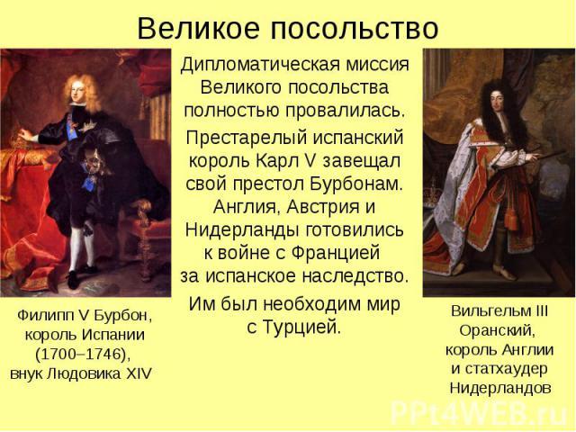 Великое посольствоДипломатическая миссия Великого посольства полностью провалилась.Престарелый испанский король Карл V завещал свой престол Бурбонам. Англия, Австрия и Нидерланды готовилиськ войне с Францией за испанское наследство.Им был необходим …