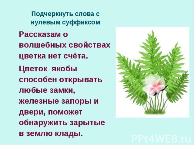 Подчеркнуть слова с нулевым суффиксомРассказам о волшебных свойствах цветка нет счёта.Цветок якобы способен открывать любые замки, железные запоры и двери, поможет обнаружить зарытые в землю клады.