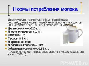 Нормы потребления молока Институтом питания РАМН были разработаны рекомендуемые