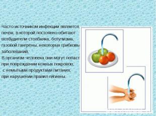 Способы передачи инфекционных заболеванийЧасто источником инфекции является почв