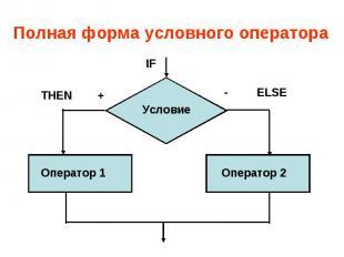 Полная форма условного оператора