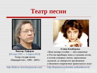 Театр песни Виктор Луферов (20 мая 1945— 1марта 2010) Театр-студия песни «Пер
