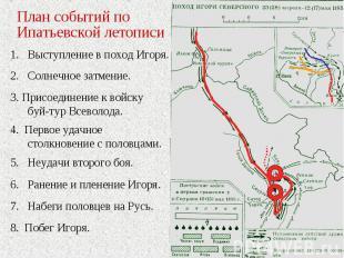 План событий по Ипатьевской летописиВыступление в поход Игоря.2. Солнечное затме