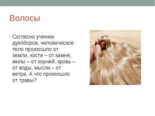 Волосы Согласно учению духоборов, человеческое тело произошло от земли, кости –