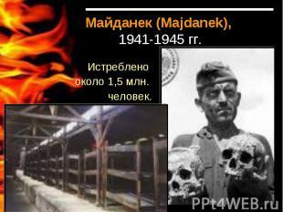 Майданек (Majdanek), 1941-1945 гг.Истреблено около 1,5 млн. человек.