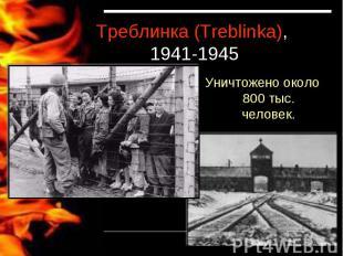 Треблинка (Treblinka), 1941-1945Уничтожено около 800 тыс. человек.