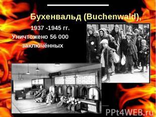 Бухенвальд (Buchenwald), 1937 -1945 гг.Уничтожено 56 000 заключённых