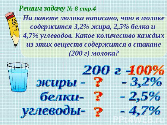 На пакете молока написано, что в молокесодержится 3,2% жира, 2,5% белка и 4,7% углеводов. Какое количество каждыхиз этих веществ содержится в стакане(200 г) молока?