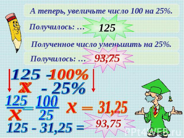 А теперь, увеличьте число 100 на 25%.