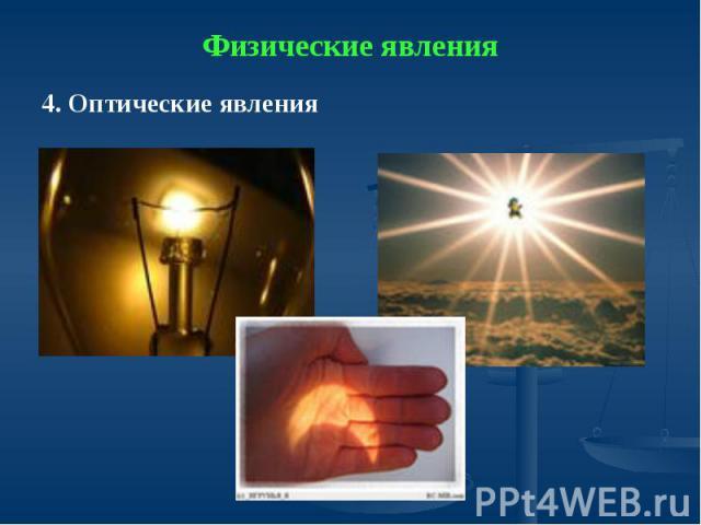 Физические явления4. Оптические явления