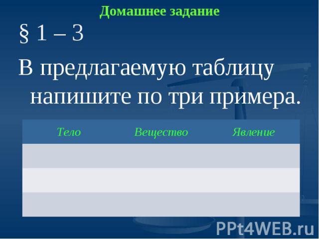 Домашнее задание § 1 – 3В предлагаемую таблицу напишите по три примера.