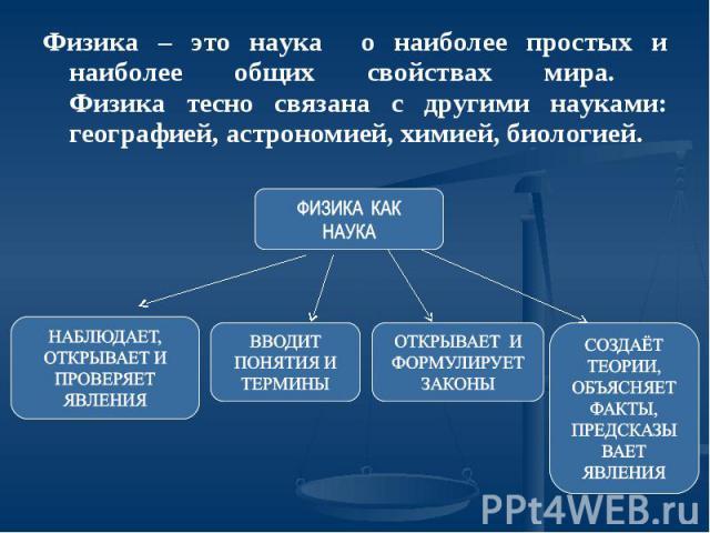 Физика – это наука о наиболее простых и наиболее общих свойствах мира. Физика тесно связана с другими науками: географией, астрономией, химией, биологией.