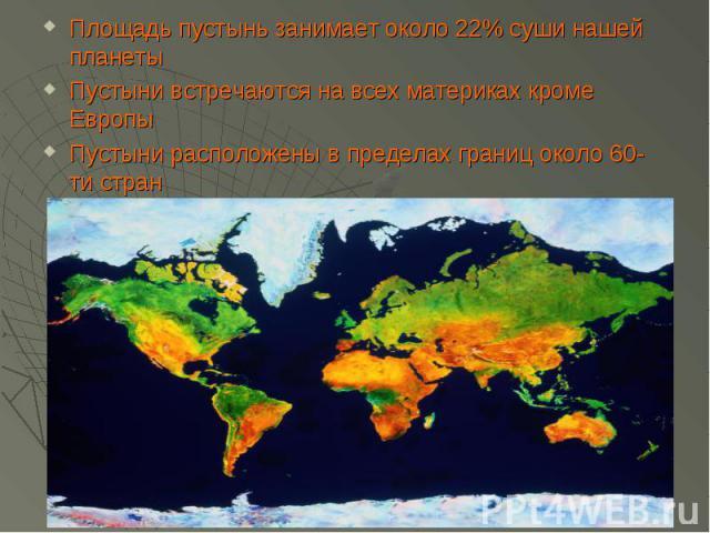 Площадь пустынь занимает около 22% суши нашей планетыПустыни встречаются на всех материках кроме ЕвропыПустыни расположены в пределах границ около 60-ти стран