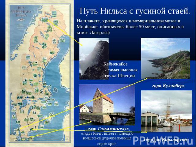 Путь Нильса с гусиной стаей.На плакате, хранящемся в мемориальном музее в Морбакке, обозначены более 50 мест, описанных в книге Лагерлёф Кебнекайсе - самая высокая точка Швеции замок Глиммингехус, откуда Нильс вывел с помощью волшебной дудочки полчи…