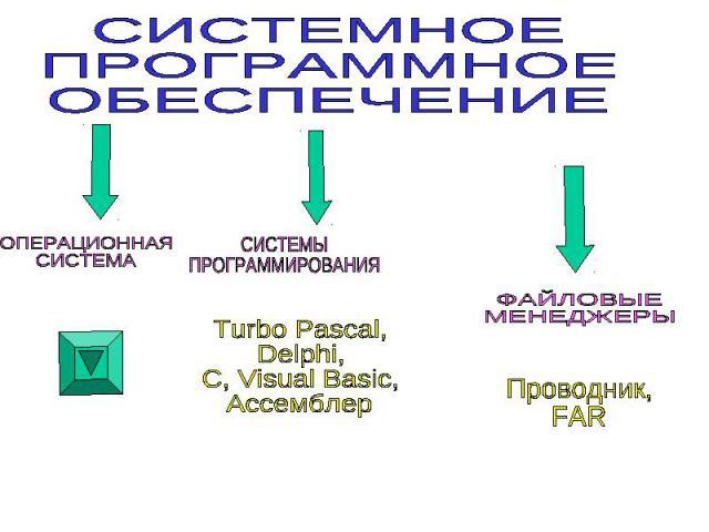 СИСТЕМНОЕ ПРОГРАММНОЕ ОБЕСПЕЧЕНИЕ ОПЕРАЦИОННАЯ СИСТЕМАСИСТЕ МЫ ПРОГРАММИРОВАНИЯ Turbo Pascal, Delphi, C, Visual Basic, Ассемблер ФАЙЛОВЫЕ МЕНЕДЖЕРЫ Проводник, FAR