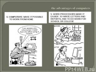 the advantages of computers4. Computers make it possible to work from home5. Wor