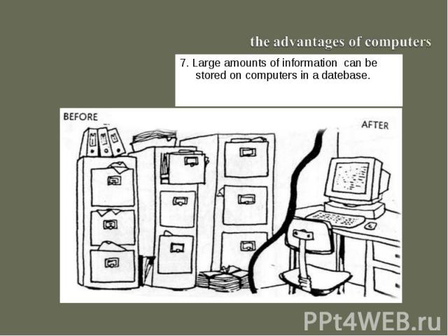the advantages of computers7. Large amounts of information can be stored on computers in a datebase.