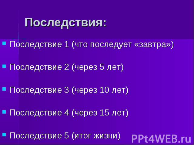 Последствия:Последствие 1 (что последует «завтра»)Последствие 2 (через 5 лет)Последствие 3 (через 10 лет)Последствие 4 (через 15 лет)Последствие 5 (итог жизни)