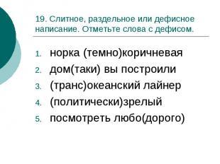 19. Слитное, раздельное или дефисное написание. Отметьте слова с дефисом.норка (