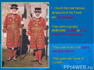 One of the most famous attractions of the Tower are 36 beefeaters.They were orig