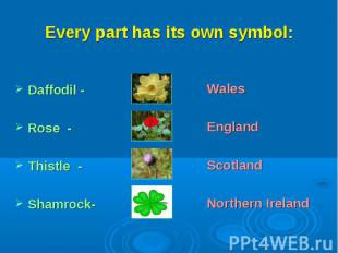 Every part has its own symbol:Daffodil - Rose -Thistle -Shamrock-WalesEnglandSco