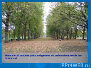 There a lot of beautiful parks and gardens in London where people can have a res