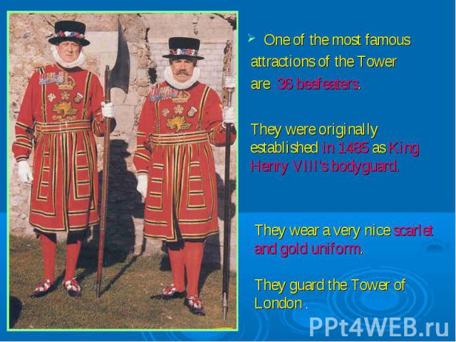 One of the most famous attractions of the Tower are 36 beefeaters.They were originally established in 1485 as King Henry VIII's bodyguard.They wear a very nice scarlet and gold uniform.They guard the Tower of London .