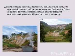 Долина гейзеров представляет собой каньон горной реки, где на площади в семь ква