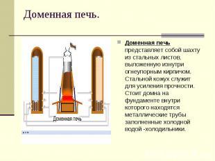 Доменная печь.Доменная печь представляет собой шахту из стальных листов, выложен