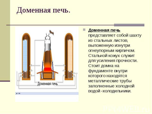Доменная печь.Доменная печь представляет собой шахту из стальных листов, выложенную изнутри огнеупорным кирпичом. Стальной кожух служит для усиления прочности. Стоит домна на фундаменте внутри которого находятся металлические трубы заполненные холод…