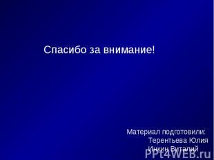 Спасибо за внимание! Материал подготовили:Терентьева ЮлияИнкин Виталий