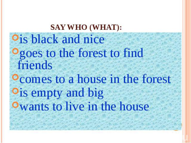 Say who (what):is black and nicegoes to the forest to find friendscomes to a house in the forestis empty and bigwants to live in the house