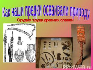 Как наши предки осваивали природу Орудия труда древних славян