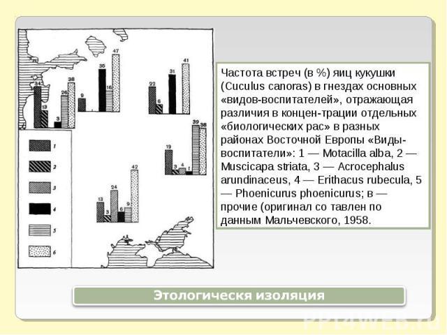 Частота встреч (в %) яиц кукушки (Cuculus canoras) в гнездах основных «видов-воспитателей», отражающая различия в концентрации отдельных «биологических рас» в разных районах Восточной Европы «Виды-воспитатели»: 1 — Motacilla alba, 2 — Muscicapa stri…