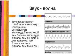 Звук - волна Звук представляет собой звуковую волну с непрерывно меняющейся ампл