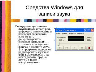 Средства Windows для записи звукаСтандартное приложение Звукозапись играет роль