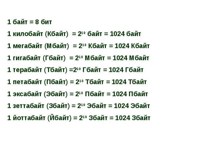 1 байт = 8 бит1 килобайт (Кбайт) = 210 байт = 1024 байт1 мегабайт (Мбайт) = 210 Кбайт = 1024 Кбайт1 гигабайт (Гбайт) = 210 Мбайт = 1024 Мбайт1 терабайт (Тбайт) =210 Гбайт = 1024 Гбайт1 петабайт (Пбайт) = 210 Тбайт = 1024 Тбайт1 эксабайт (Эбайт) = 21…