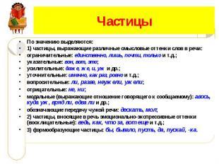 ЧастицыПо значению выделяются:1) частицы, выражающие различные смысловые оттенки