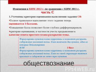 Изменения в КИМ 2012 г. по сравнению с КИМ 2011 г.часть С1.Уточнены критерии оце