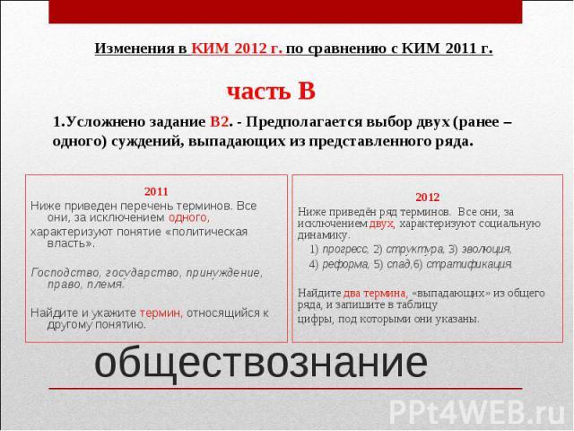 Изменения в КИМ 2012 г. по сравнению с КИМ 2011 г.1.Усложнено задание В2. - Предполагается выбор двух (ранее – одного) суждений, выпадающих из представленного ряда.2011Ниже приведен перечень терминов. Все они, за исключением одного,характеризуют пон…