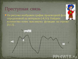 Преступная связьНа рисунке изображен график производной функции , определенной н