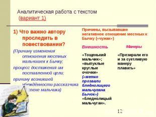 Аналитическая работа с текстом (вариант 1)1) Что важно автору проследить в повес